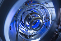 The magnetic coils inside of the compact fusion experiment are critical to plasma containment.
