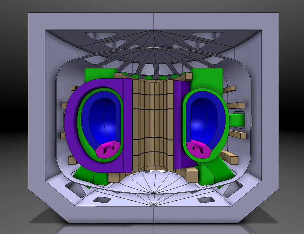 Sketch of a tokamak demonstration power plant. From the interior to the exterior: magnet coil for induction of the plasma current (brown), main field coils (lilac), plasma vessel (green), blanket (blue), divertor (magenta), auxiliary coils (brown), cryostat (grey), shielding (grey).