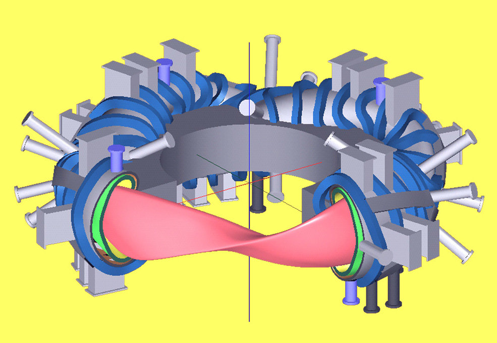Sketch of a stellarator demonstration power plant. From the interior to the exterior: support ring (grey), magnet coils (blue), plasma vessel with ports (grey), blanket (green), plasma (red). Not shown are the divertor and the cryostat, which encloses the core of the device.