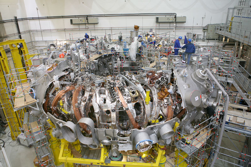 The last component is still missing: Wendelstein 7-X prior to installation of the last cryostat section