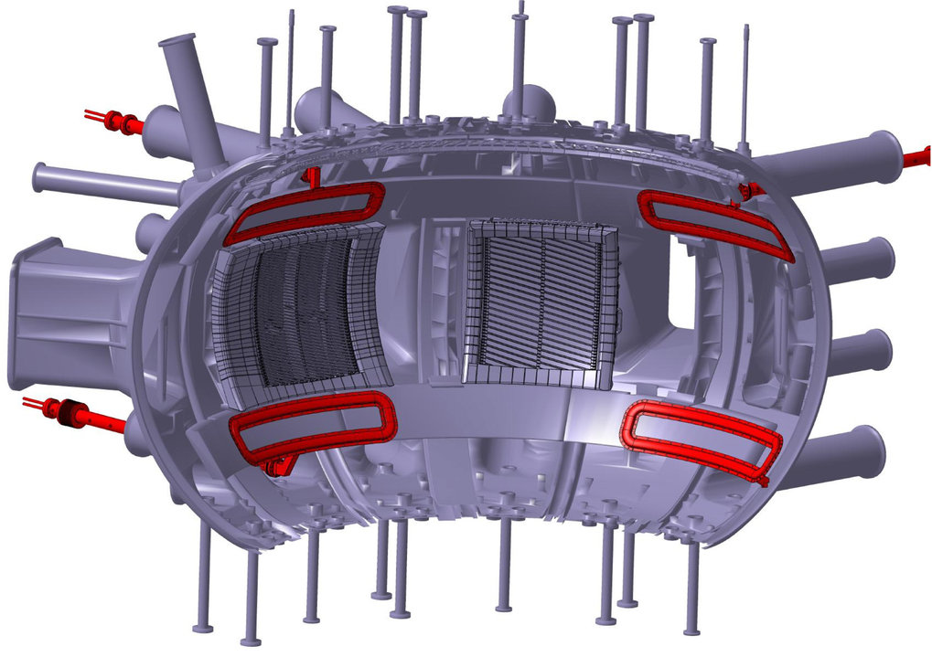 Conceptional design: the control coils mounted on the vessel wall of the ASDEX Upgrade fusion device