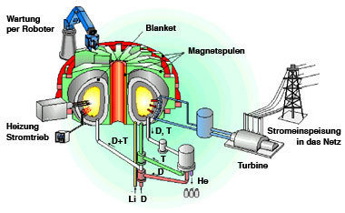 Sketch of a fusion power plant of the tokamak type