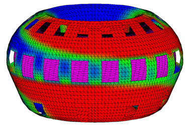 "<span class=""textklein"">Calculation of kink instabilities for ITER: Clearly visible are the currents induced by the deforming plasma (marked in purple) in the vessel wall, perforated with numerous ports.</span><span class=""text""><br /></span>"