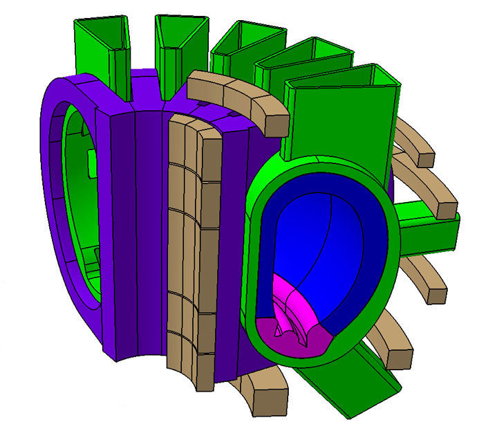 Sketch of a tokamak demonstration power plant. From the interior to the exterior: magnet coil for induction of the plasma current (brown), main field coils (lilac), plasma vessel (green), blanket (blue), divertor (magenta), auxiliary coils (brown).