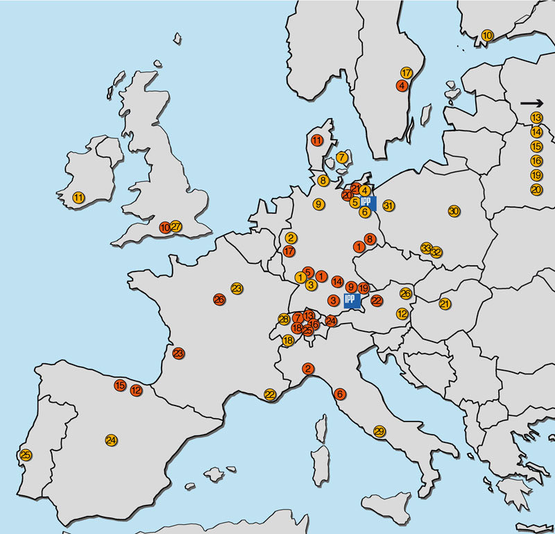 Firms throughout Europe (marked in red) were manufacturing individual components for Wendelstein 7-X, numerous research institutes (yellow) were involved in construction of the device.