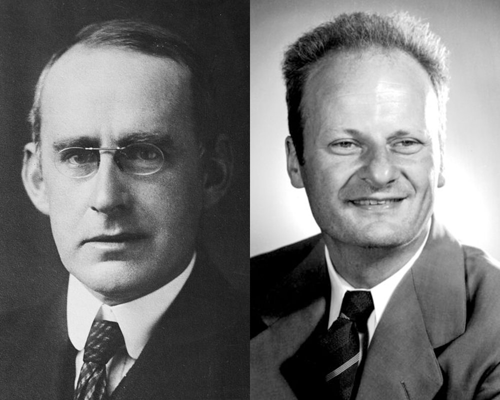 Arthur Eddington realised 1920: nuclear fusion is the sun's energy source. The proton-proton reaction was finally described by Hans Bethe in 1938. (photos: Bain Collection; Los Alamos National Laboratory)