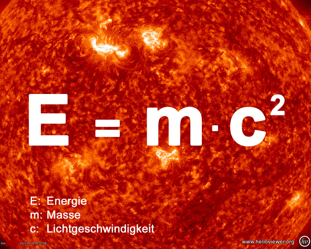 ... Every second, the sun loses four million tonnes of its mass. They turn into energy according to Einstein's famous equation. (grafic: IPP, photo: ESA/NASA)