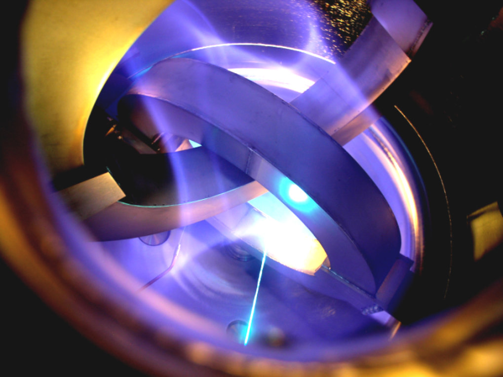 "<p>View into the ""Columbia Non-neutral Torus"" at Columbia University in New York. This stellarator-type magnetic field configuration designed by Professor Sunn Pedersen succeeded in magnetically capturing an electrically non-neutral plasma, a pure electron plasma. It was here also that his reflections on confining matter-antimatter plasmas started.</p>"